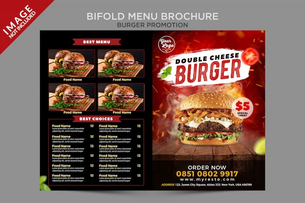 Seria promocji bifold menu double cheese burger