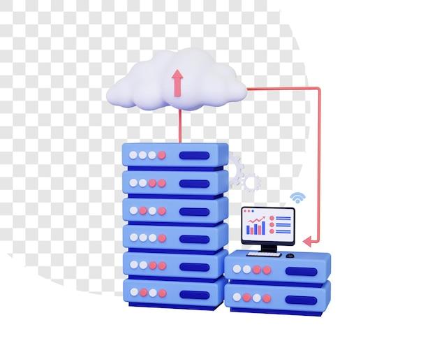 Serwer w chmurze 3d z komputerem