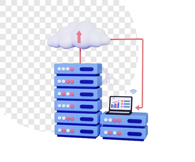 Serwer w chmurze 3d z laptopem