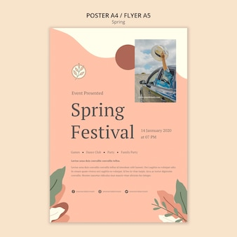 Sezonowy szablon plakatu festiwalu wiosennego