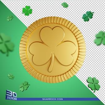 Shamrock złota moneta saint patricks day 3d render na białym tle