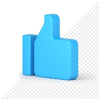 Sieć społecznościowa, taka jak kciuk w górę, ikona renderowania 3d