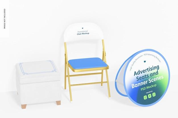 Siedziska reklamowe i baner z makietą scen ściennych