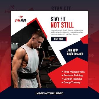 Siłownia fitness instagram post lub kwadratowy szablon ulotki