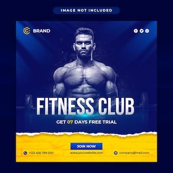 Siłownia i fitness banner instagram lub szablon postu w mediach społecznościowych