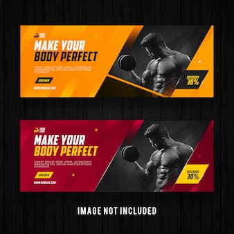 Siłownia i fitness szablon promocji banner na facebooku