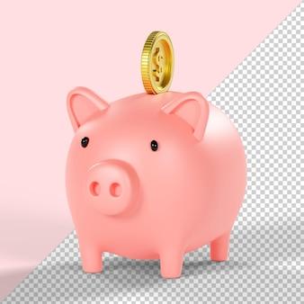 Skarbonka i moneta dolara na białym tle renderowania 3d