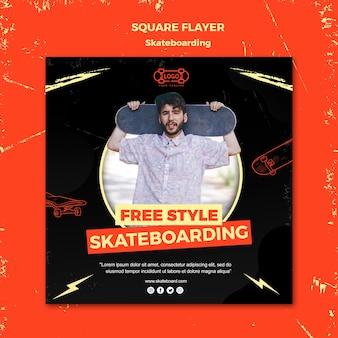 Skateboarding koncepcja szablon ulotki kwadratowe