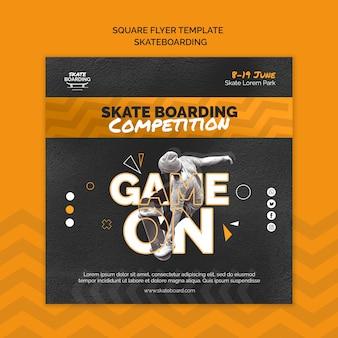 Skateboarding kwadratowy szablon ulotki ze zdjęciem