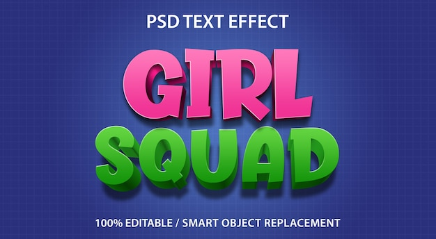 Skład dziewczęcy z efektem tekstowym