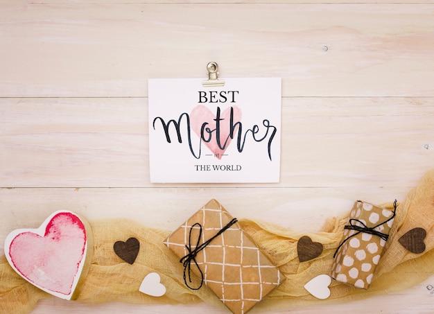 Skład płaski dzień matki świeckich z makieta karty