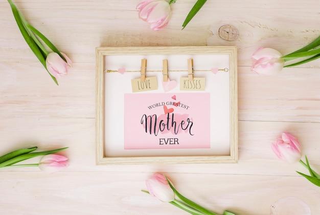 Skład płaski dzień świeckich matek z makieta ramki