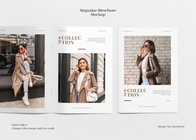 Składana okładka a4 i otwarta minimalistyczna makieta magazynu lub broszury
