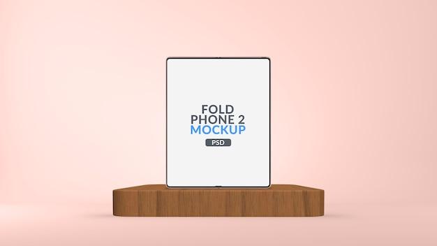 Składany ekran główny telefonu typu tablet na makiecie sceny na białym tle
