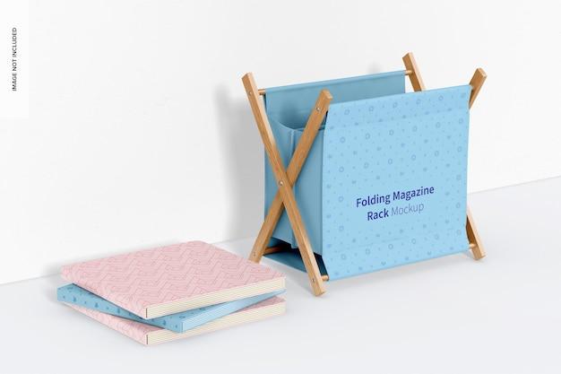 Składany stojak na czasopisma z makietą książek