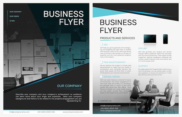 Składany szablon ulotki biznesowej psd w nowoczesnym stylu