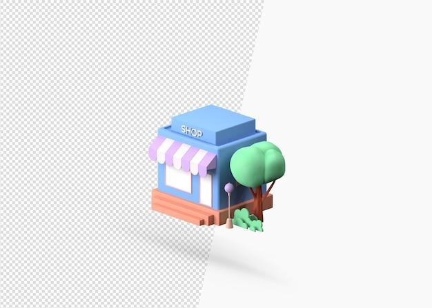 Sklep 3d z koncepcją premii na białym tle natury