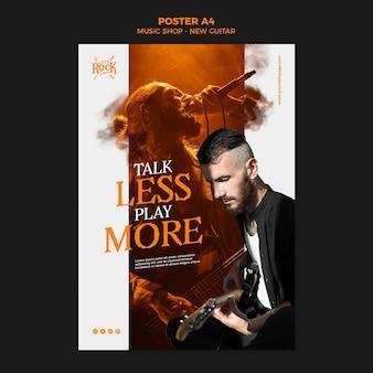 Sklep muzyczny nowy szablon plakatu na gitarze