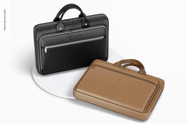 Skórzane torby na laptopa makieta