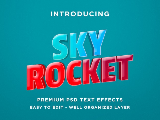 Sky rocket game style 3d text effect