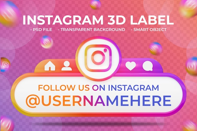 Śledź mnie na instagramie odznaka ikony renderowania 3d w mediach społecznościowych