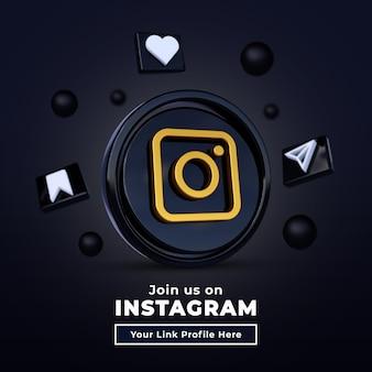 Śledź nas na instagramie social media kwadratowy baner z logo 3d