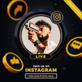 Śledź nas na instagramowym banerze w mediach społecznościowych z logo 3d i polem profilu linku