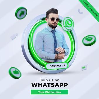 Śledź nas na kwadratowym banerze whatsapp w mediach społecznościowych z logo 3d i polem profilu linku