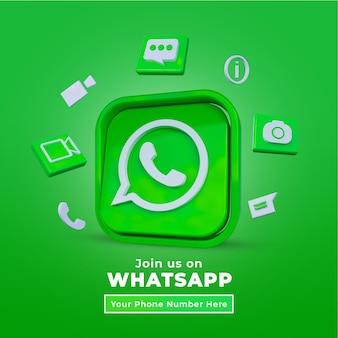 Śledź nas na postie whatsapp w mediach społecznościowych z logo 3d i profilem linków