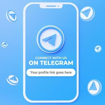 Śledź nas na telegramie makieta postu w mediach społecznościowych