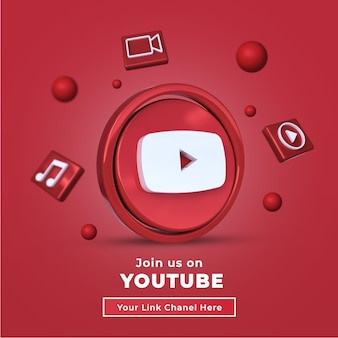 Śledź nas na youtube social media kwadratowy baner z logo d i linkiem chanel