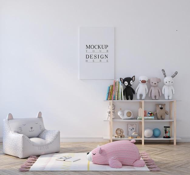 Śliczna mała sypialnia dla dzieci z makietą plakatu