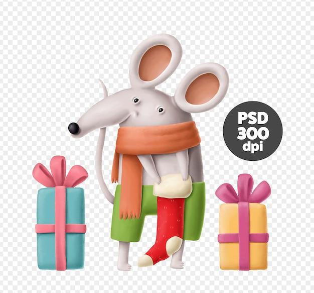 Śliczna świąteczna mysz z skarpetą świąteczną