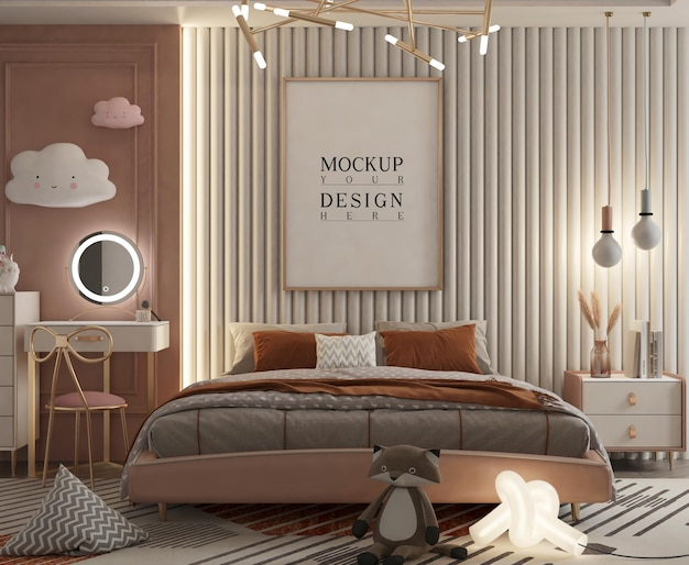 Śliczna sypialnia dla dzieci z plakatem makiety renderowania 3d
