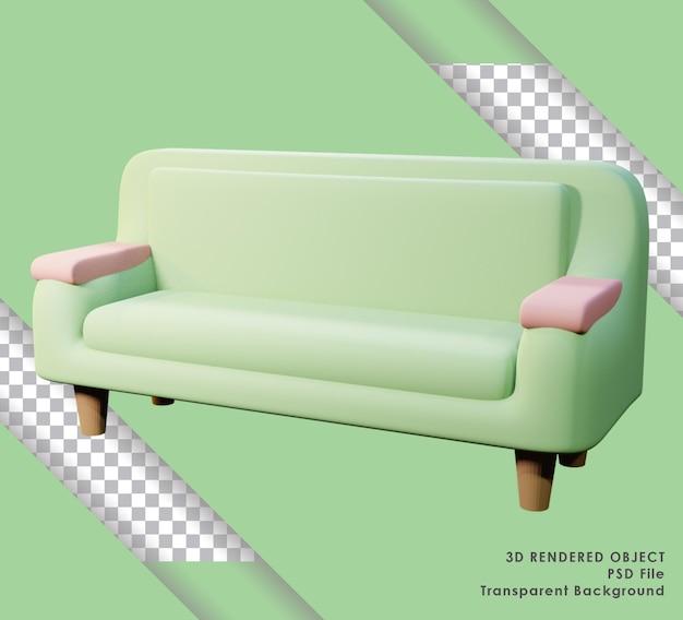 Śliczna zielona sofa renderująca 3d z przezroczystym tłem
