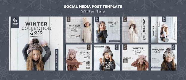 Śliczne dziecko zimowa sprzedaż kolekcji na instagramie post