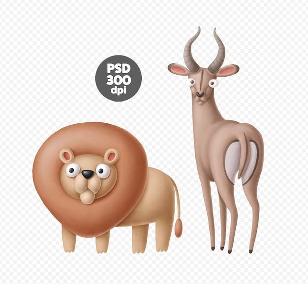 Śliczne postacie zwierząt safari na białym tle