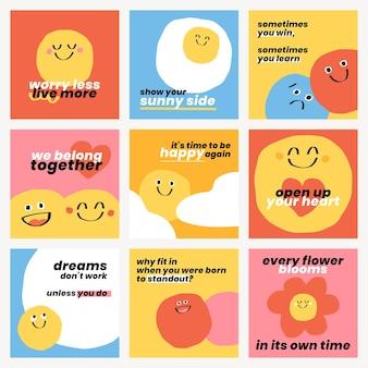 Śliczne pozytywne cytaty szablony psd doodle buźka emotikony zestaw postów w mediach społecznościowych