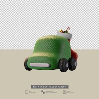 Śliczny gliniany zielony samochód z świąteczną skarpetą widok z przodu ilustracja 3d