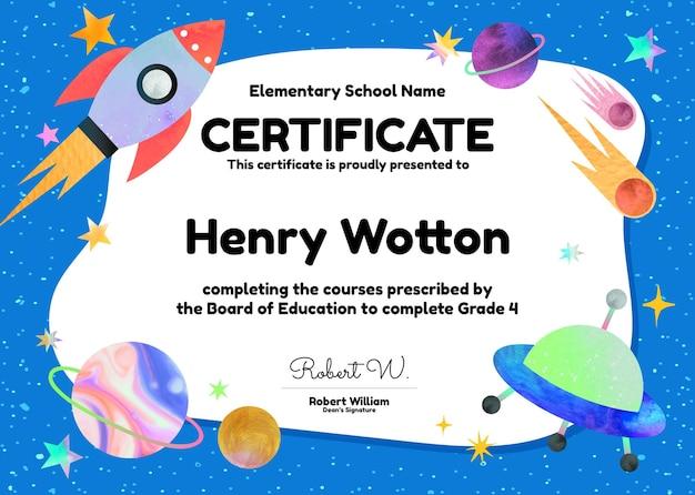 Śliczny kolorowy szablon certyfikatu psd w projektowaniu galaktyki dla dzieci