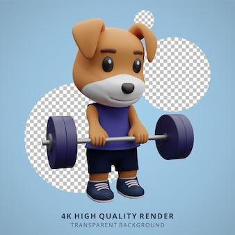 Śliczny pies fitness siłownia zwierząt ilustracja 3d postaci maskotka