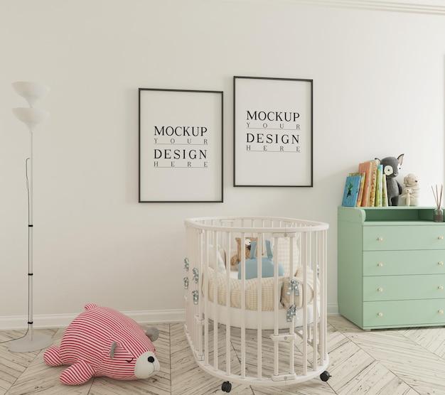 Śliczny pokój dziecinny z makietą plakatu