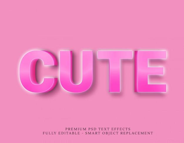 Śliczny różowy 3d styl tekstu efekt psd