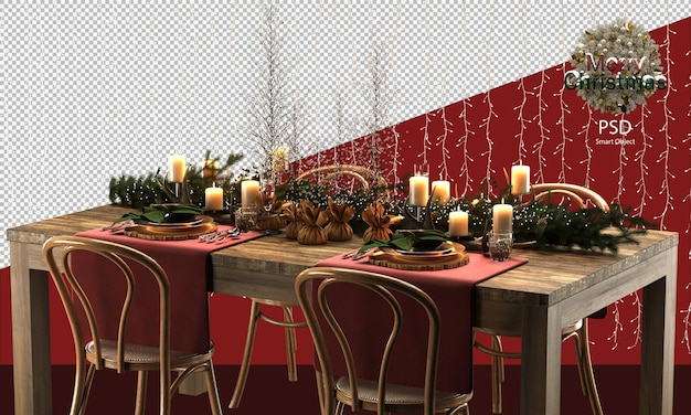 Śliczny świąteczny drewniany stół i krzesła dekoracje drzewne i rustykalne dekoracje stołu świątecznego