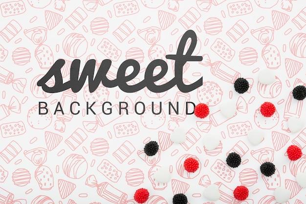 Słodki tło z czarnymi i czerwonymi jagodami