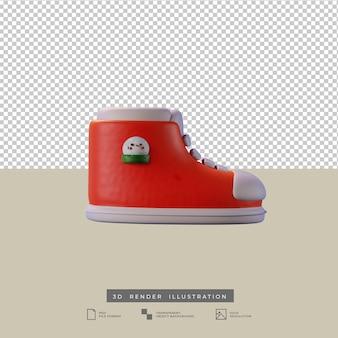 Słodkie buty świąteczne z widokiem z boku bałwana ilustracja 3d