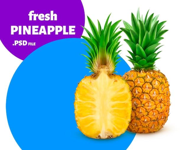 Słodkie i pyszne owoce ananasa na białym tle