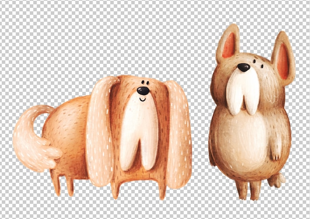 Słodkie ręcznie rysowane psy