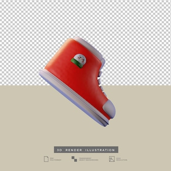 Słodkie świąteczne czerwone buty z bałwanem 3d ilustracją na białym tle