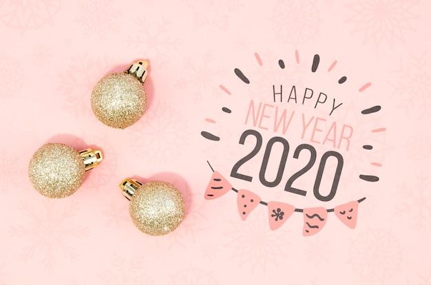 Słodkie szczęśliwego nowego roku 2020 napis] n różowe odcienie